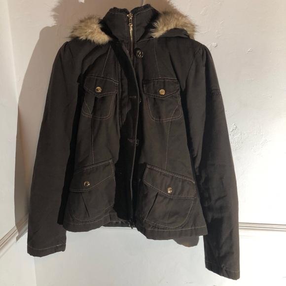 Guess Jackets & Blazers - Guess fur coat zip/button up